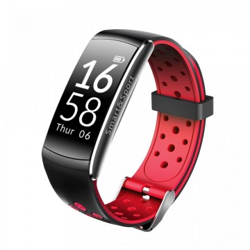 Bratara fitness smart Q8 bluetooth, Android, iOS, OLED 0.96 inch, heart rate, rosu