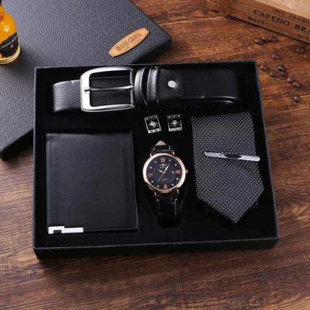 Set cadou cu ceas barbatesc, curea, portofel, cravata si butoni