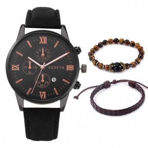 Set cadou cu ceas barbatesc Geneva si bratari elegante