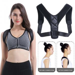 Suport (ham) corector pentru spate si umeri cu bretele ajustabile, unisex, negru pentru adulti & copii