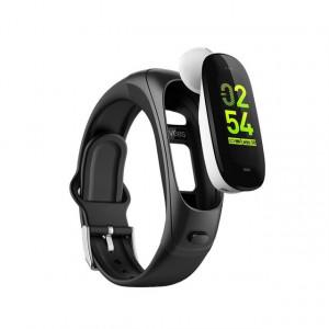 Bratara fitness smart V08S casca bluetooth, monitorizare puls, pedometru, vibratii, notificari, anti-lost, alerta sedentarism, Android, iOS, negru