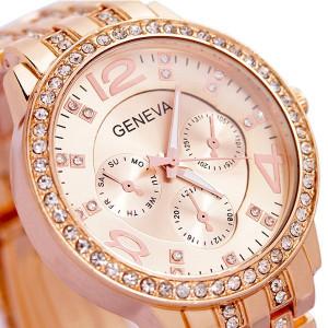 Ceas de dama Geneva rhinestone rose gold