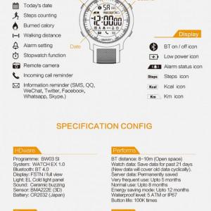Ceas smartwatch RegalSmart Sport EX18-165 BT 4.0, Android, iOS, padometru, anti-lost, notificari, negru