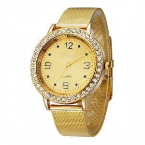 Ceas de dama Geneva grid gold crystal