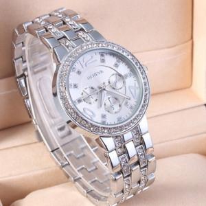 Ceas de dama Geneva rhinestone silver