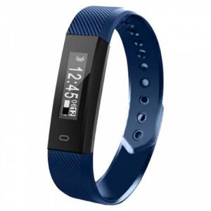 Bratara fitness smart HR BT 4.0, ritm cardiac, pedometru, remote camera, notificari, Android, iOS, vibratii, albastru