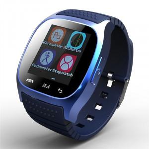 "Ceas smartwatch M26 Bluetooth, ecran 1.5"", barometru, pedometru, notificari SMS, Facebook, Whatsapp, albastru"