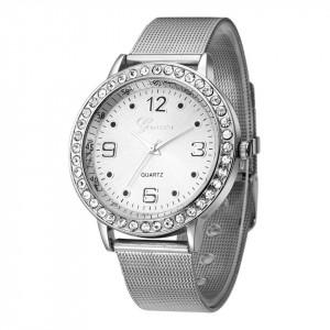 Ceas de dama Geneva grid silver crystal