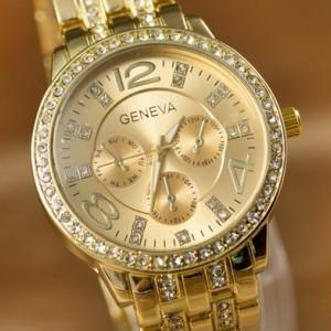 Ceas de dama Geneva rhinestone gold
