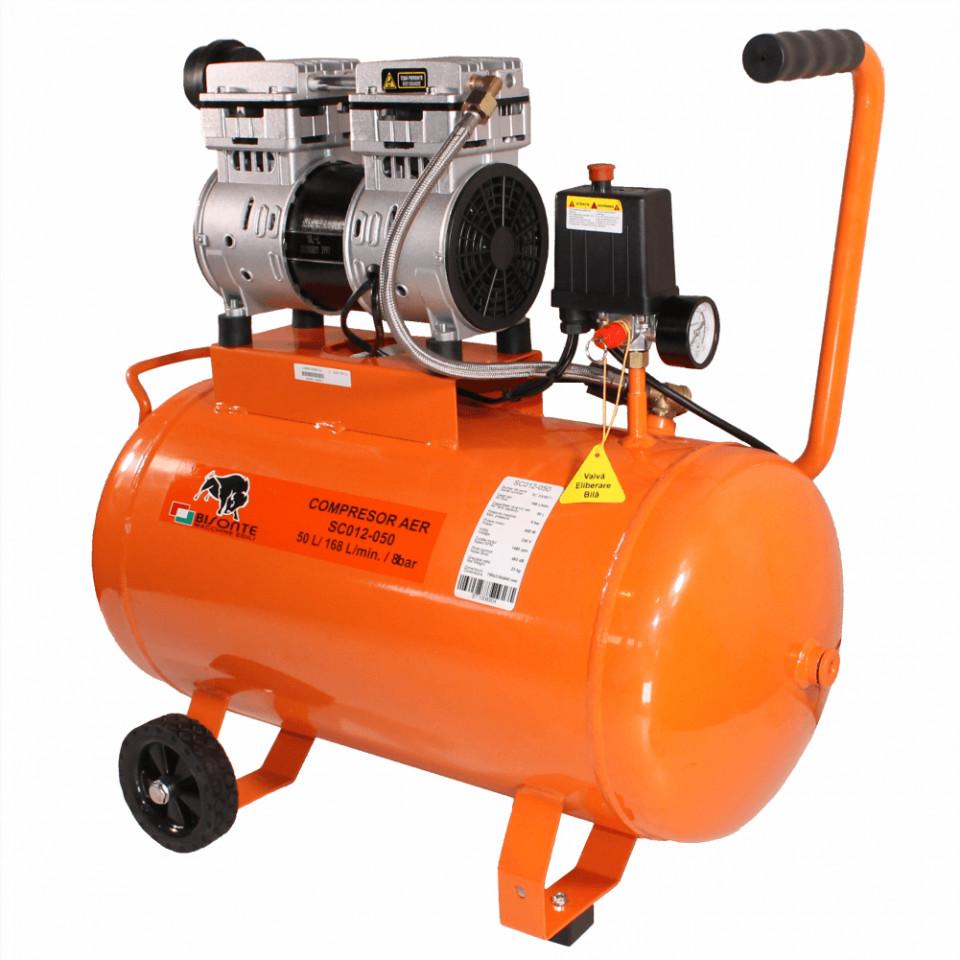 Compresor de aer fara ulei Bisonte SC012-050, debit aer 168 l/min. butelie 50 l imagine Bisonte albertool.com