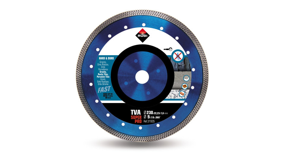Disc diamantat pt. materiale foarte dure 230mm, TVA 230 SuperPro - RUBI-31935 RUBI