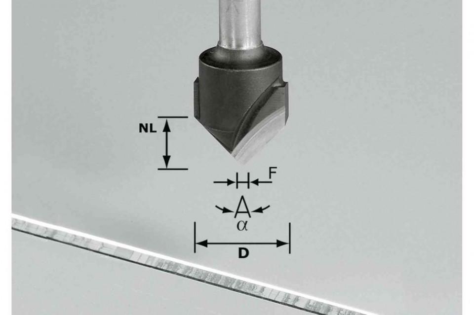 Freză de canelat in forma de V HW S8 D18-90°/Alu Festool