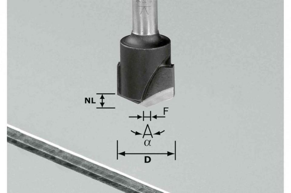 Freză de canelat in forma de V HW S8 D18-135°/Alu Festool