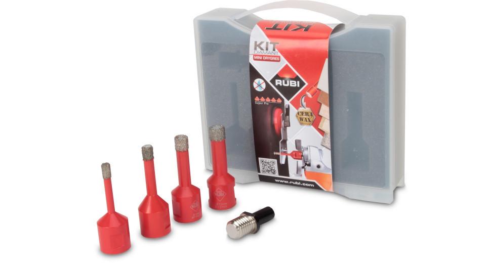 Kit carote diamantate Mini DryGres 6, 8, 10, 12mm, 4 buc. - RUBI-50938 imagine RUBI albertool.com