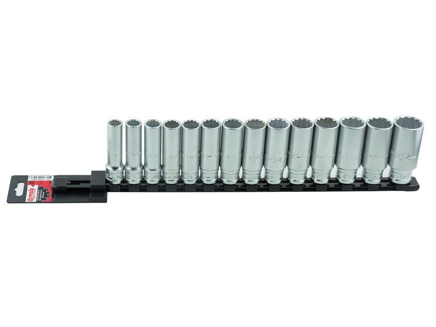 "Set 14 capete chei tubulare lungi 1/2"" DH pe suport metalic L 445 mm MOBIUS - BRASOV"