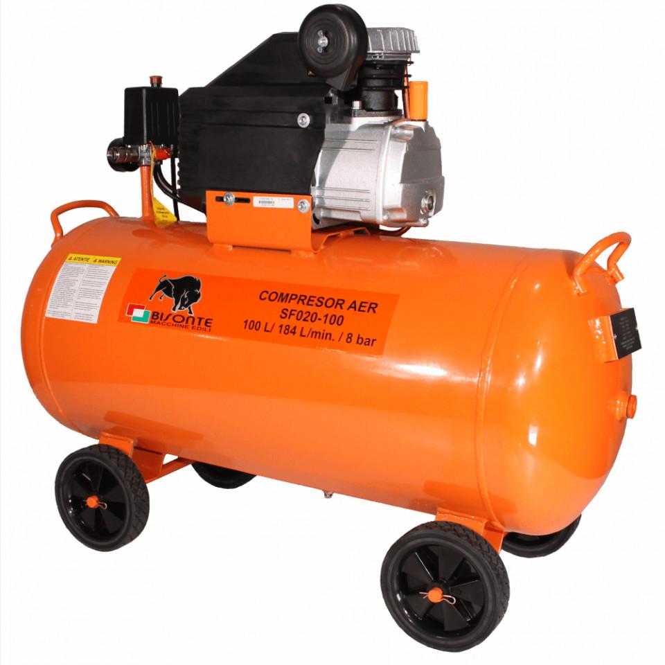 Compresor de aer cu ulei Bisonte SF020-100, debit aer 187 l/min butelie 100 l imagine 2021
