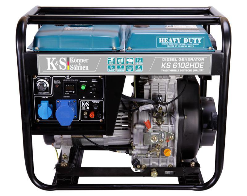 Generator de curent 5.5 kW diesel - Heavy Duty Euro 2 - Konner & Sohnen - KS-6102DE-HD imagine Konner & Sohnen albertool.com