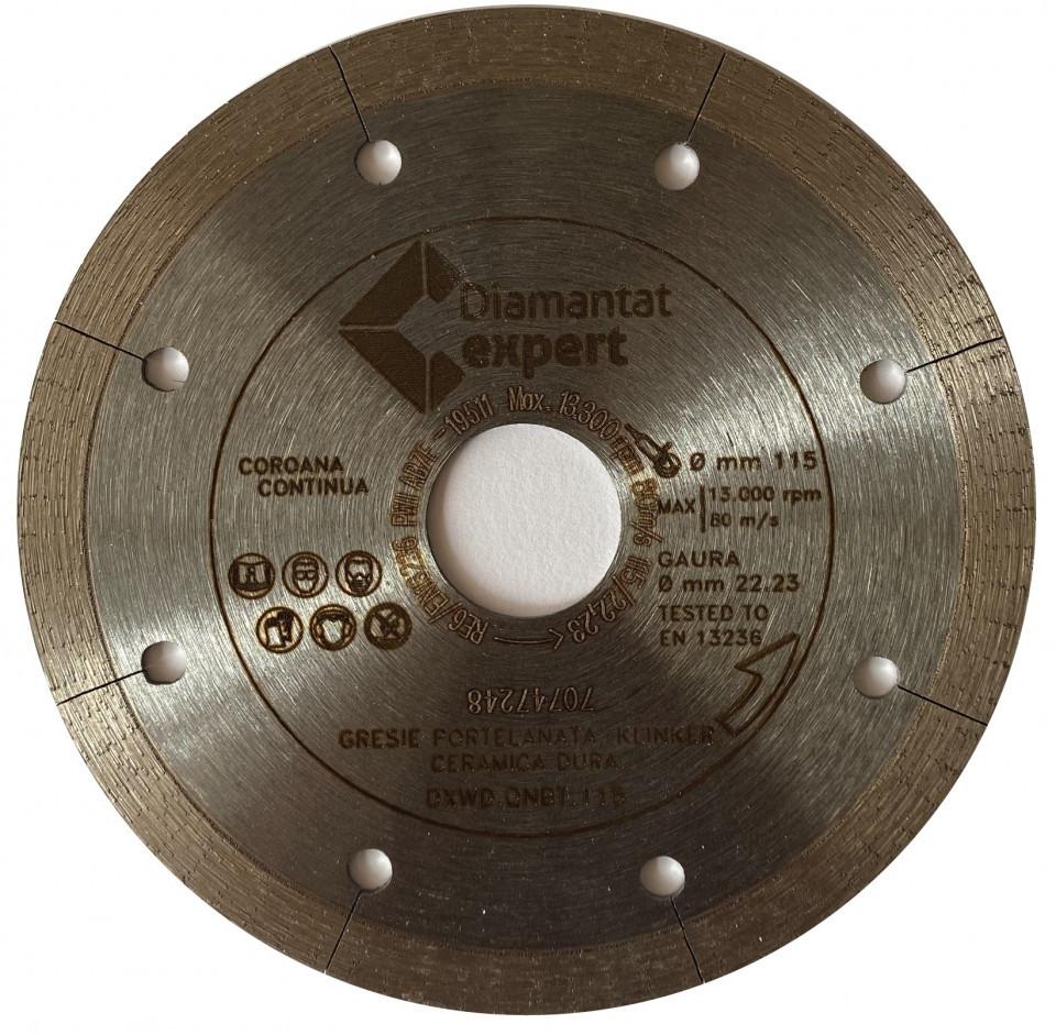Disc DiamantatExpert pt. Portelan dur, ceramica dura - Ultra Long Life 115x22.2 (mm) Ultra Premium - DXWD.QNBT.115 DiamantatExpert