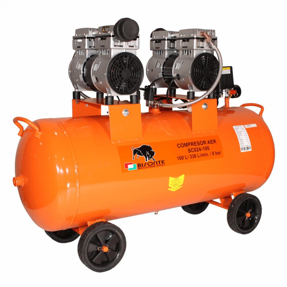 Compresor de aer fara ulei Bisonte SC024-100, debit aer 336 l/min. butelie 100 L imagine Bisonte albertool.com