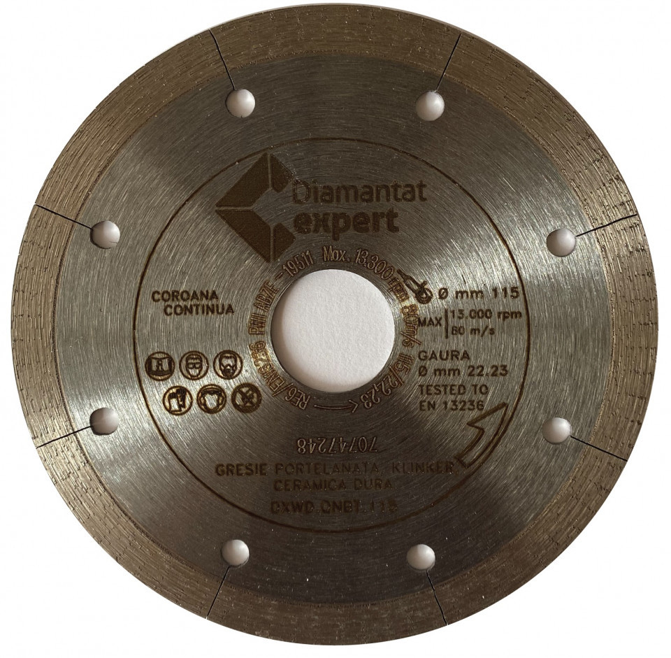 Disc DiamantatExpert pt. Portelan dur, ceramica dura - Ultra Long Life 125x22.2 (mm) Ultra Premium - DXWD.QNBT.125 DiamantatExpert