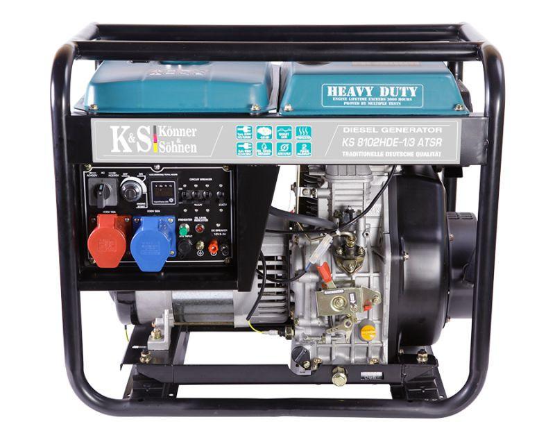 Generator de curent 6.5 kW diesel - Heavy Duty Euro 2 - Konner & Sohnen - KS-8102DE-1/3-HD-ATSR imagine Konner & Sohnen albertool.com