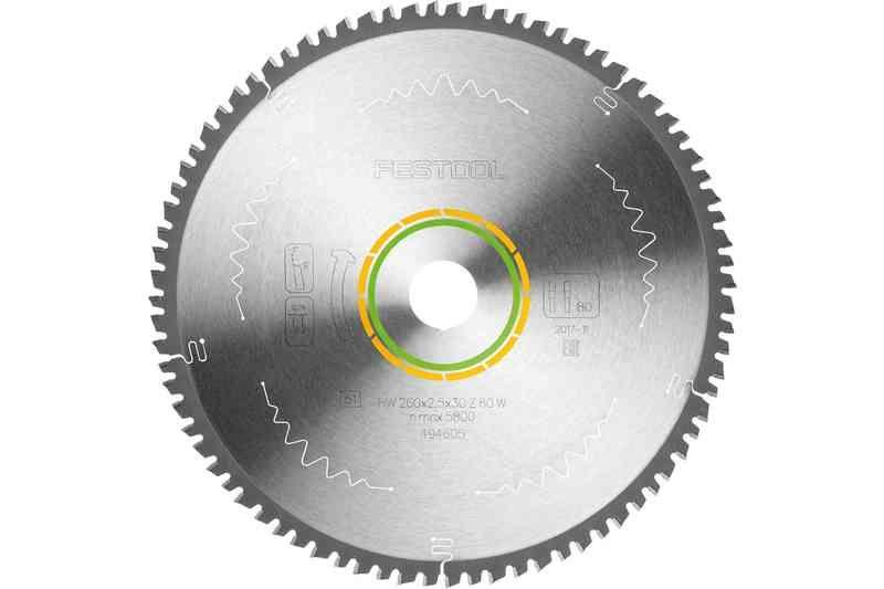 Panza de ferastrau circular cu dinti fini 260x2,5x30 W80 Festool