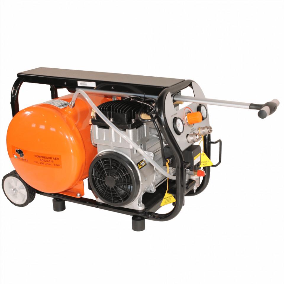 Compresor de aer fara ulei Bisonte SC020-015, debit aer 206 l/min Butelie 15 L imagine 2021