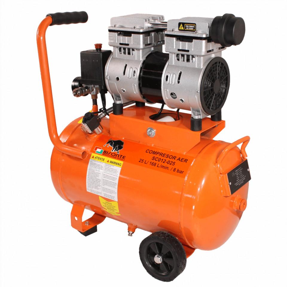 Compresor electric fara ulei Bisonte SC012-025 debit aer 168 l/min., 25 L imagine Bisonte albertool.com