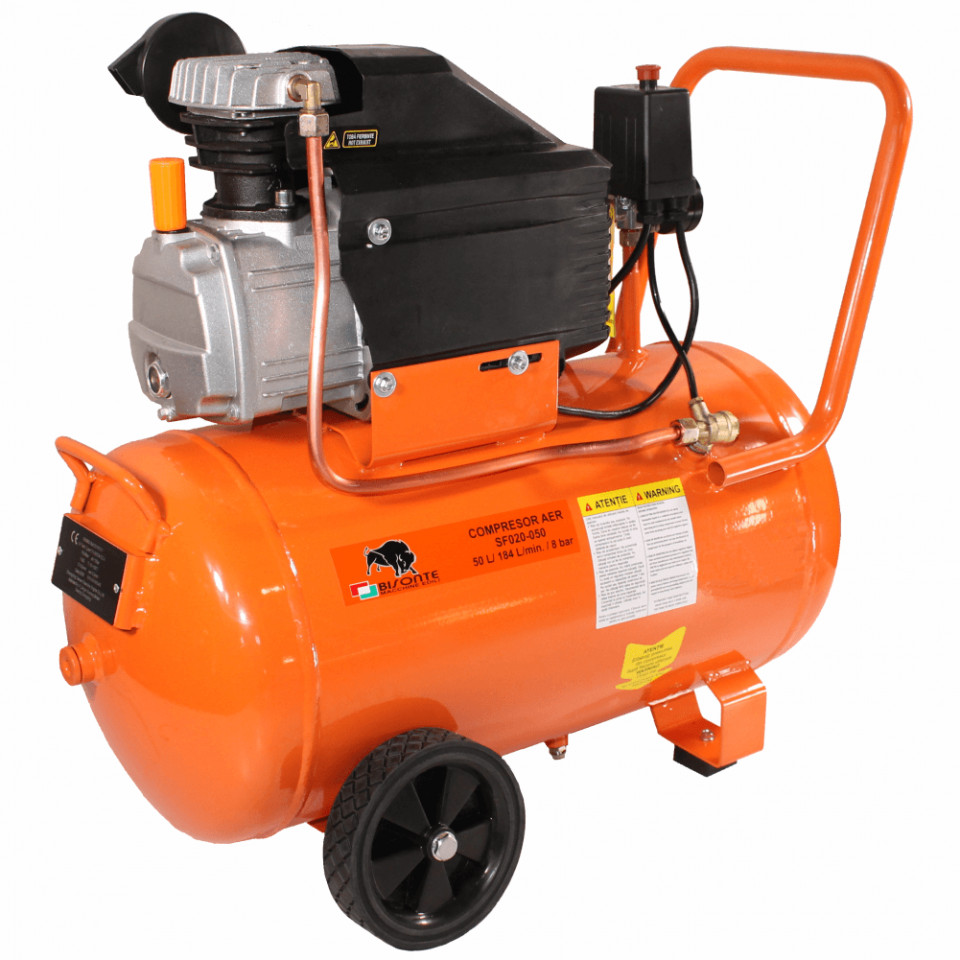 Compresor de aer cu ulei Bisonte SF020-050, debit aer 187 l/min butelie 50 l imagine 2021