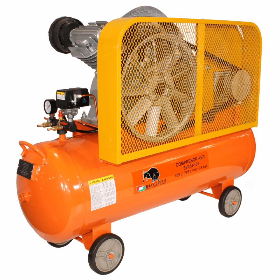 Compresor de aer cu ulei Bisonte SV054-105, debit aer 786 l/min butelie 105 l imagine 2021