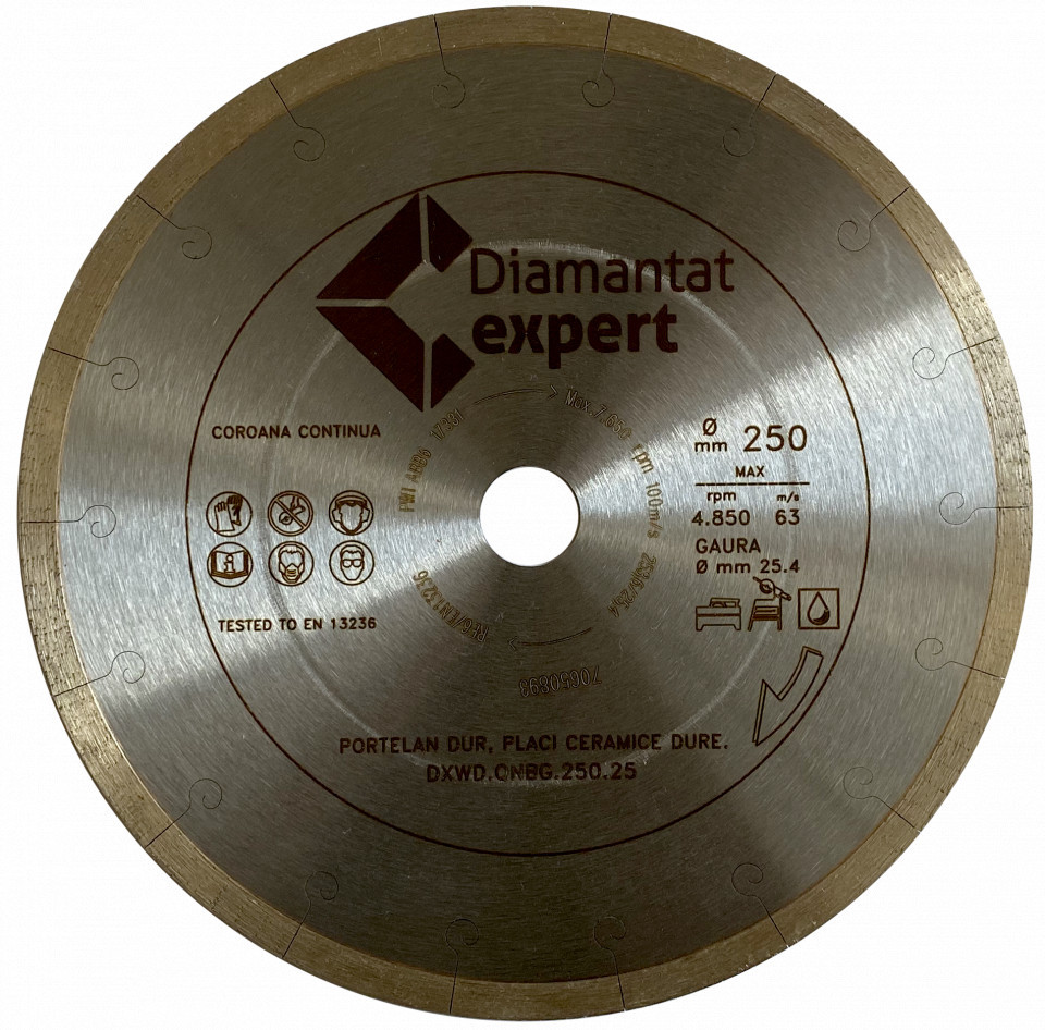 Disc DiamantatExpert pt. Portelan dur, ceramica dura - Ultra Long Life 300x25.4 (mm) Ultra Premium - DXWD.QNBG.300.25 DiamantatExpert