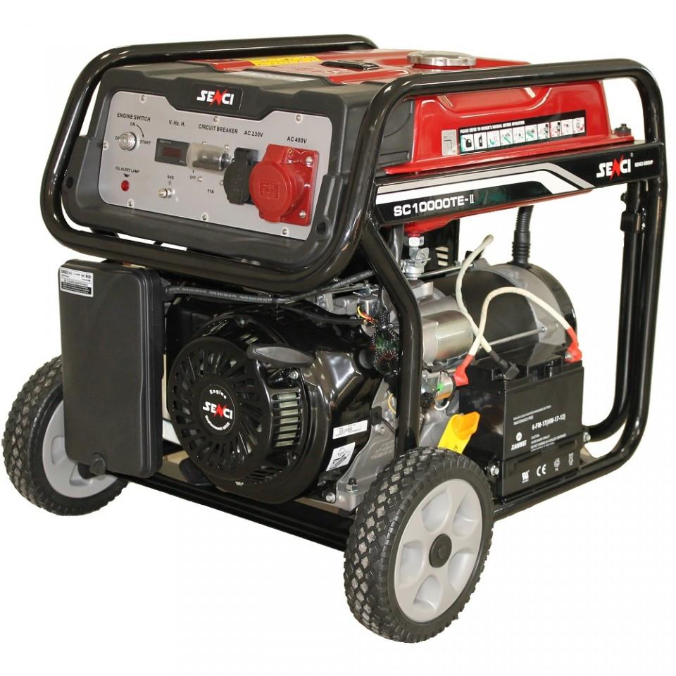 Generator de curent Senci SC-10000TE, 8500W, 400V - AVR inclus, motor benzina cu demaraj electric imagine SENCI albertool.com