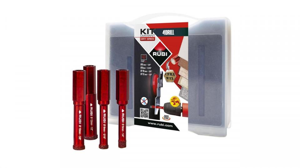 Kit carote diamantate DryGres4Drill 6, 8, 10, 12mm, 4 buc. - RUBI-5939 imagine RUBI albertool.com