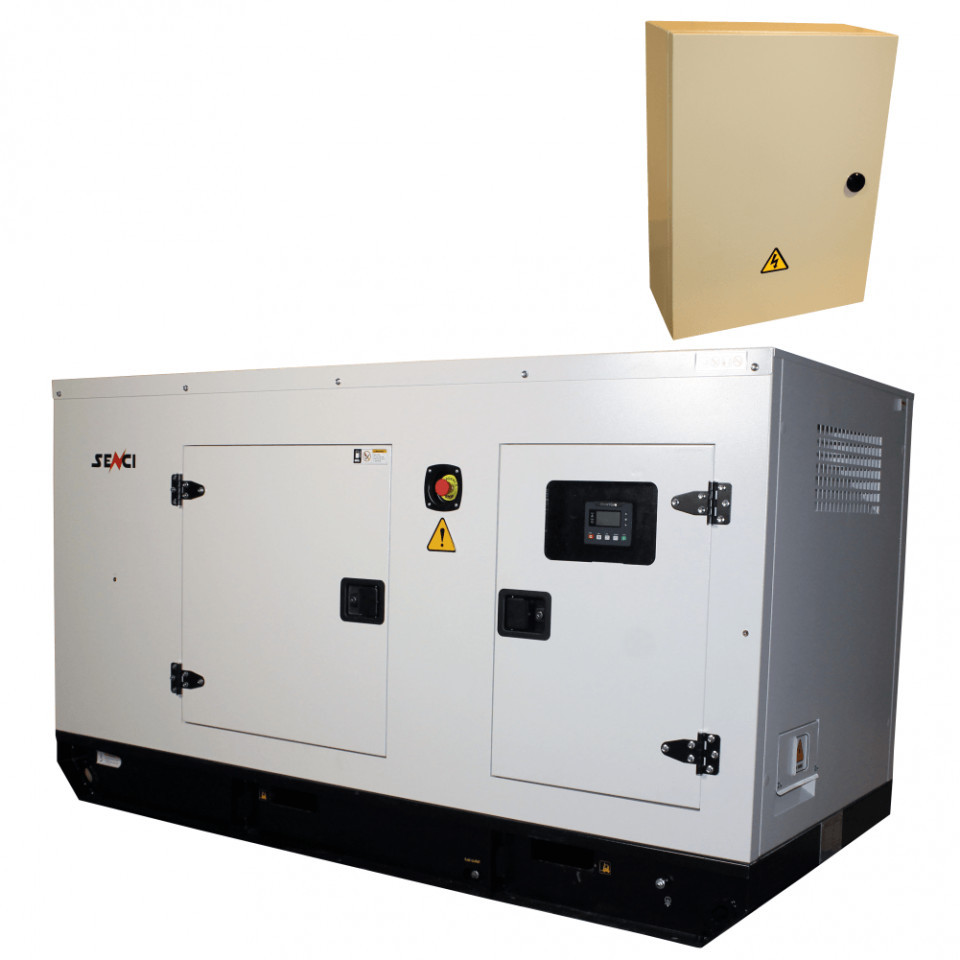 Generator de curent Insonorizat Senci SCDE 34YS-ATS, Putere max. 34 kVA, 400V, AVR cu automatizare SENCI