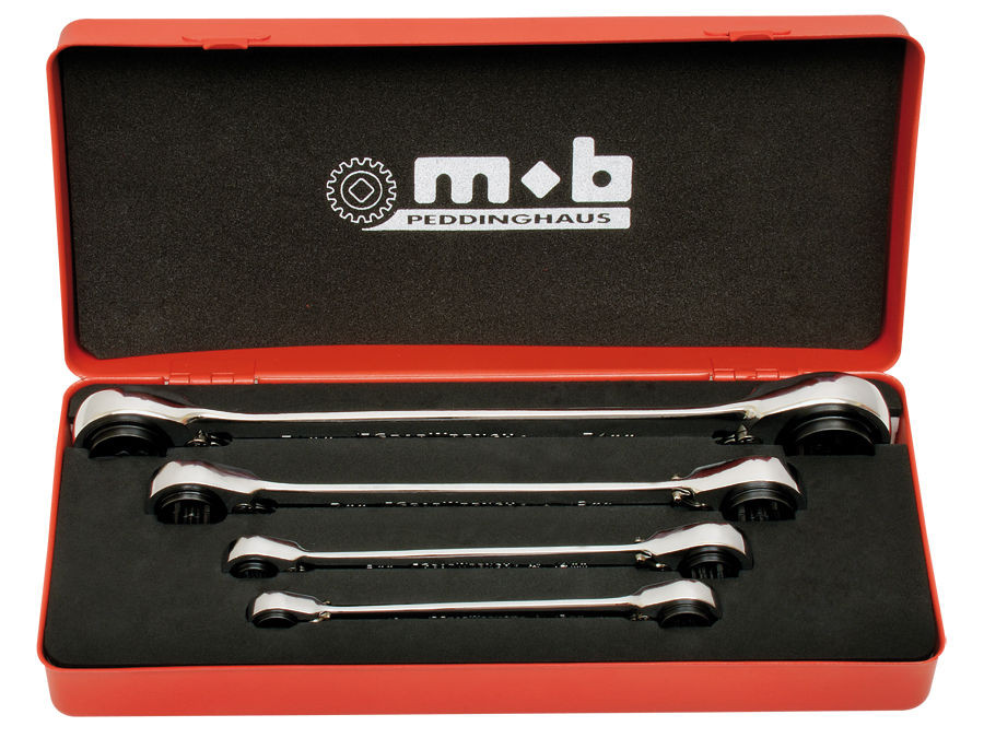 Set 4 chei cu dublu clichet reversibil 4×4 in cutie metal 4 imagine MOBIUS - BRASOV albertool.com
