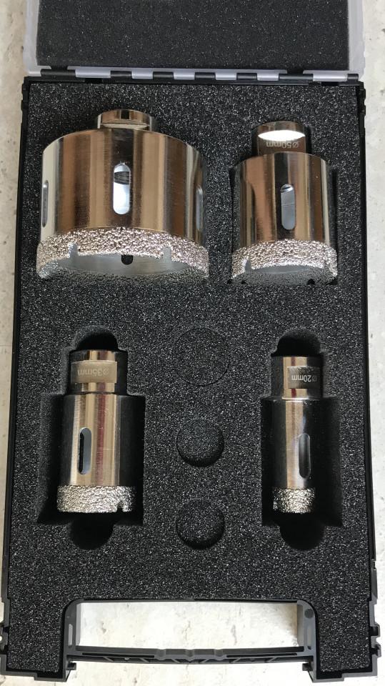 Set carote diamantate pt. gresie portelanata & piatra - diam. 20, 35, 50, 75mm Super Premium - DXDH.80407.S20-75 / 80407.Set imagine DiamantatExpert albertool.com
