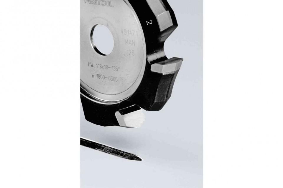 Freză de canelat in forma de V HW 118x18-135°/Alu Festool