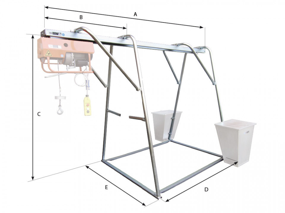 Stand metalic cu sina suport pt. Electropalane pana la 500kg IORI-CAV500 Officine IORI