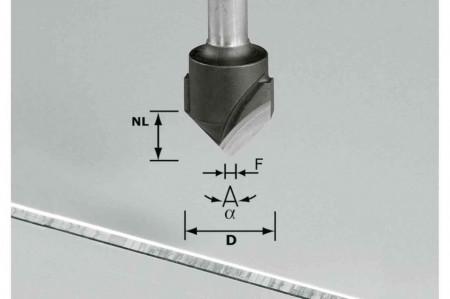 Freză de canelat in forma de V HW S8 D18-90°/Alu