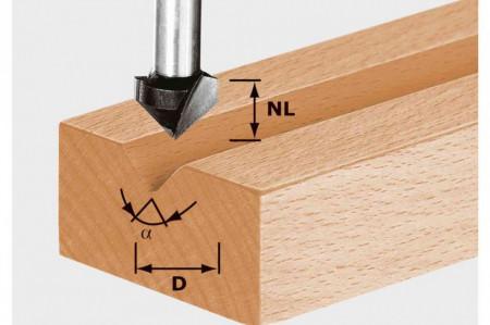 Freză de canelat in forma de V HS S8 D11/9,5/60°