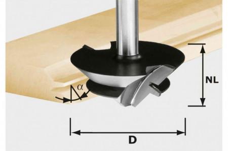 Freză pentru îmbinări nut şi feder în unghi de 45 de grade HW D 64/27 S12