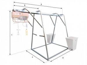 Stand metalic cu sina suport pt. Electropalane pana la 1000kg IORI-CAV1000