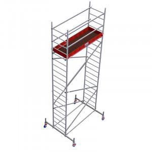 Schela din aluminiu Protec 0,6 x 2m, aluminiu, inaltime lucru 5,3m (0+1+Roti)
