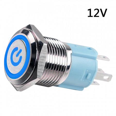 Metalni taster 16mm sa LED svetlom plavi