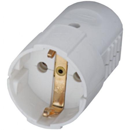Šuko konektor ženski  PVC beli