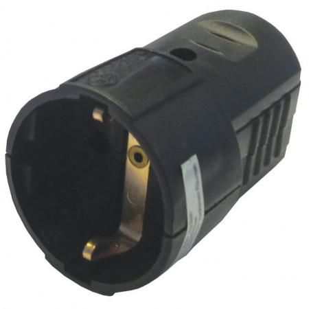 Šuko konektor ženski  PVC crni