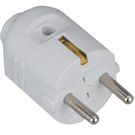 Šuko konektor muški  PVC beli