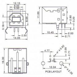 Ženski USB konektor tip B za PCB montažu