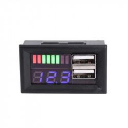 Indikator stanja akumulatora sa LED voltmetrom i 2 USB porta plavi
