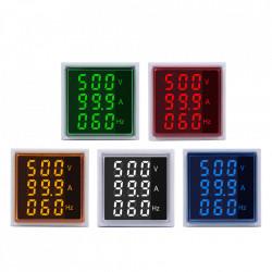 LED ampermetar/voltmetar/frekvencmetar 22mm žuti